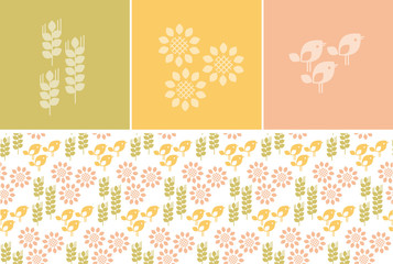 Vector simple nature icons: sunflower floral, birds and wheat grains. Natural concept modern motif for surface design in pale color.
