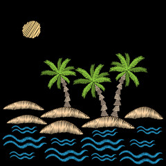 Palm tree with sun and wave embroidery stitches imitation on black background