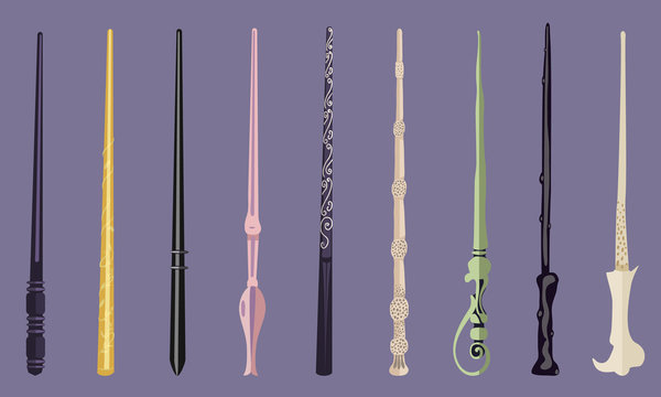 Set of 9 different magic wands for witches and wizards. vintage magic sticks for witchcraft schools and fantasy games.