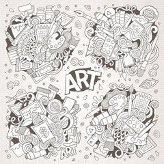 Art and paint materials doodles hand drawn vector designs