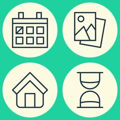 Icons Set. Collection Of Estate, Calendar, Landscape Photo Elements. Also Includes Symbols Such As Date, Landscape, Calendar.