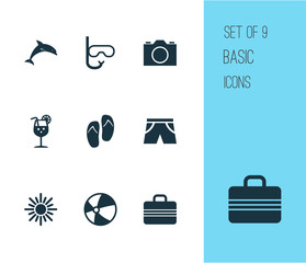 Sun Icons Set. Collection Of Lemonade, Video, Tube And Other Elements. Also Includes Symbols Such As Circle, Lemonade, Juice.