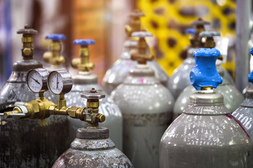 Gas cylinders used welding Industrial in factory