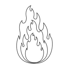monochrome silhouette of flame in closeup vector illustration