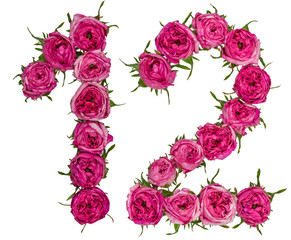 Arabic numeral 12, twelve, from red flowers of rose, isolated on white background