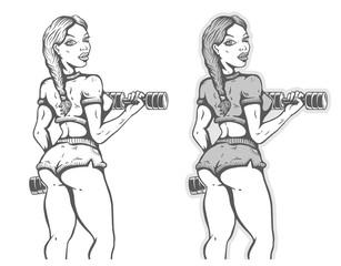 Girl bodybuilder with dumbbells.
