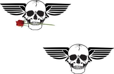 teschio con rosa e ali simbolo adesivo