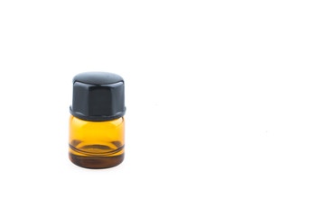1ml essential oil bottles isolated on white background close up