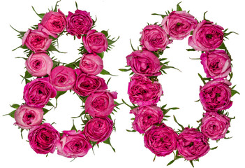 Arabic numeral 80, eighty, from red flowers of rose, isolated on white background