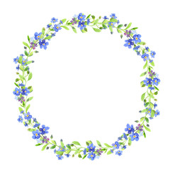 Watercolor wreath. Blue forget-me-nots with green leaves on white background. Can be used as wedding invitations, print, your banner or Postcards for Valentine's Day.