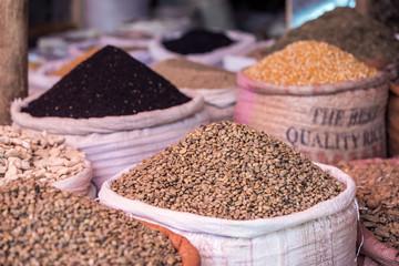 Green coffee in Ethiopian market