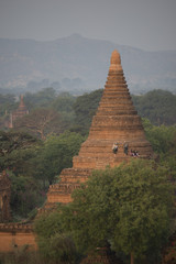 People on a pagoda in Bagan, Mandalay, Myanmar