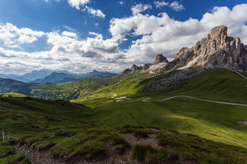 Passo Giau, Dolomites, Italy. Beautiful summer mountain landscape. High Alpine road