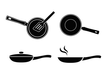 Frying pan vector icon