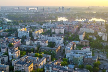 View of the old city Podil of Kiev from height