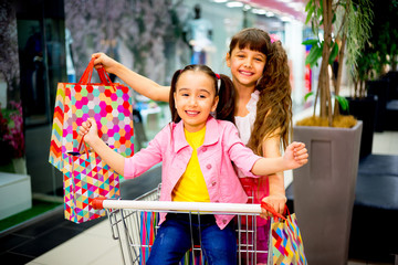 Kids in shopping cart