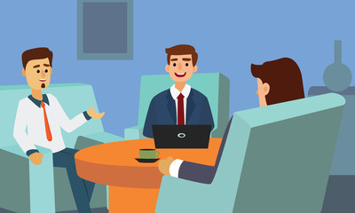 Business people discussing and working with laptop sitting at sofa. Corporate Couch Sitting Conceptual illustration vector.
