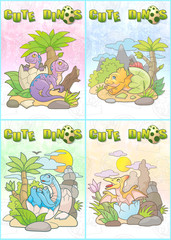 Cartoon newborn dinosaurs set of cards