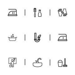 Set Of 9 Editable Cleaning Icons. Includes Symbols Such As Gloves, Tools, Sink And More. Can Be Used For Web, Mobile, UI And Infographic Design.