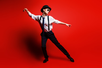 suit and bowler hat
