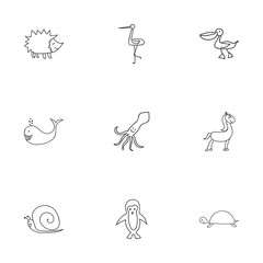 Set Of 9 Editable Zoology Icons. Includes Symbols Such As Pelican, Shadoof, Tortoise And More. Can Be Used For Web, Mobile, UI And Infographic Design.