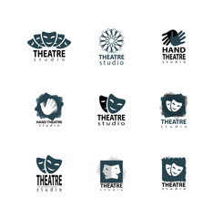 Theater studio logo design set with mask and