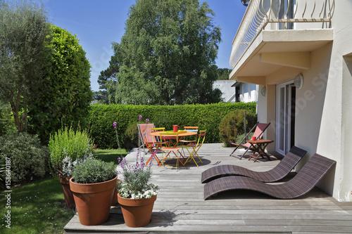 terrasse avec jardin maison en Bretagne\