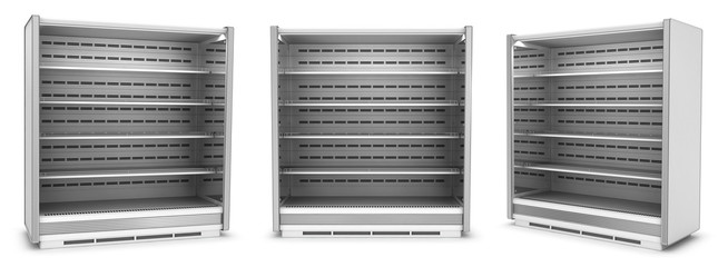 Open refrigerated display case with shelves. Supermarket. Set of 3d images isolated on white.