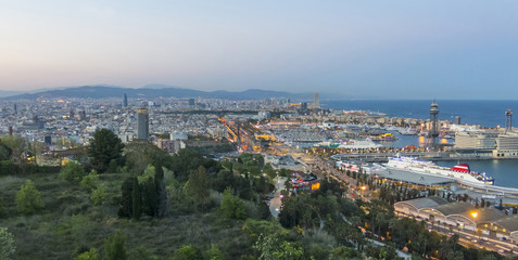 Barcelona skyline panorama at the Blue Hour. Spain