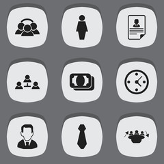 Set Of 9 Editable Business Icons. Includes Symbols Such As Cv, Unity, Work Man And More. Can Be Used For Web, Mobile, UI And Infographic Design.