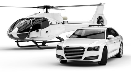 Rich man vehicles painted in white  / 3D render image representing a rich man transportation vehicles painted in white isolated on white background