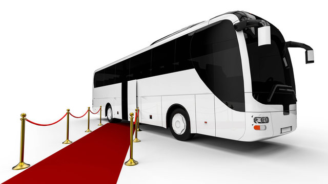Red carpet Bus  / 3D render image representing an luxury bus at the end of a red carpet
