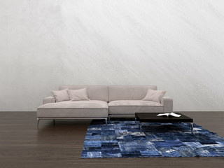 Large generic modular couch in a minimalist room