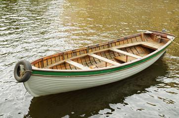 Wooden boat for a walk.