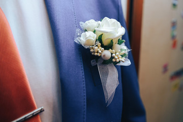 Boutonniere groom close-up