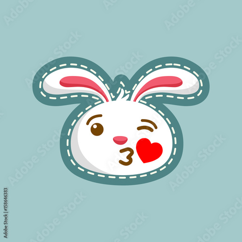 Kiss Rabbit Emoticon Unique Expression Of Rabbit Character Stock