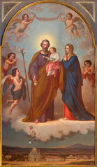 TURIN, ITALY - MARCH 15, 2017:  The painting of Holy Family in church Basilica Maria Ausiliatrice by Tommaso Lorenzone (1824  - 1902).