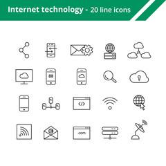 Internet technologies line icons.