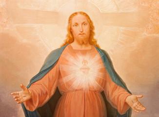 TURIN, ITALY - MARCH 14, 2017: The painting of Sacred Heart of Jesus in church Chiesa di Santa Maria della Consolazione by Luigi Guglielmino (1885 - 1962).