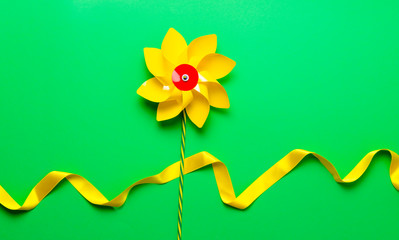 Little pinwheel toy with ribbon