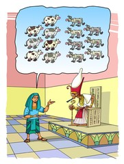 Joseph interprets Pharaoh's dreams about seven fat and seven lean cows