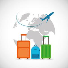 Startklar für die Flugeise mit Koffern