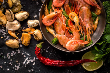 Seafood on a dark background