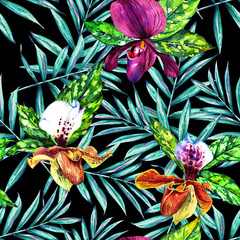 Seamless floral pattern with beautiful watercolor orchids and palm leaves. Colorful jungle foliage on black background. Textile design.