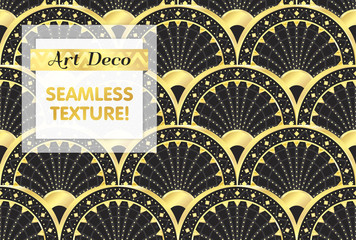VECTOR eps 10. Art deco geometric Seamless pattern in black gold white colors. Gold and silver print.