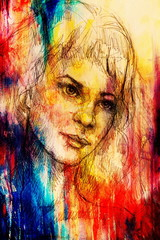 handrawn portrait of young woman on background with structured graphic effect.