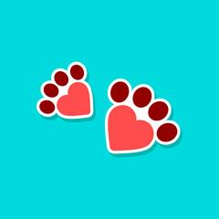 paper sticker on stylish background cat tracks