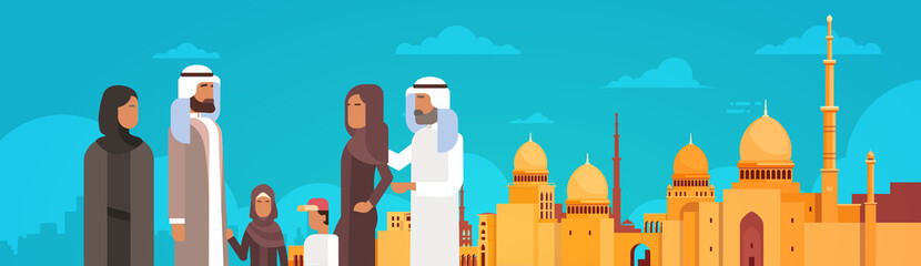 Arab Family Over Muslim Cityscape Nabawi Mosque Building Flat Vector Illustration