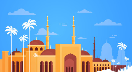 Muslim Cityscape Nabawi Mosque Building Religion Flat Vector Illustration