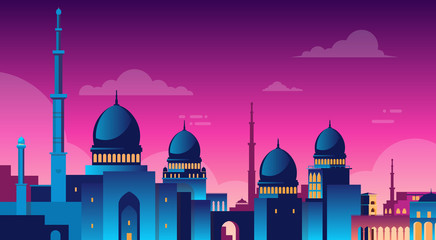 Muslim Cityscape Nabawi Mosque Building Religion Night View Flat Vector Illustration